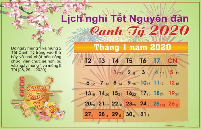 lịch nghỉ tết 2020