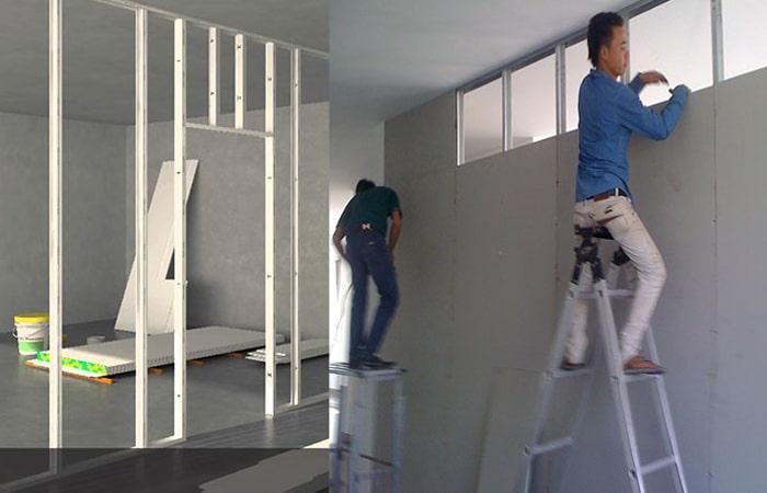 thợ làm tường thạch cao